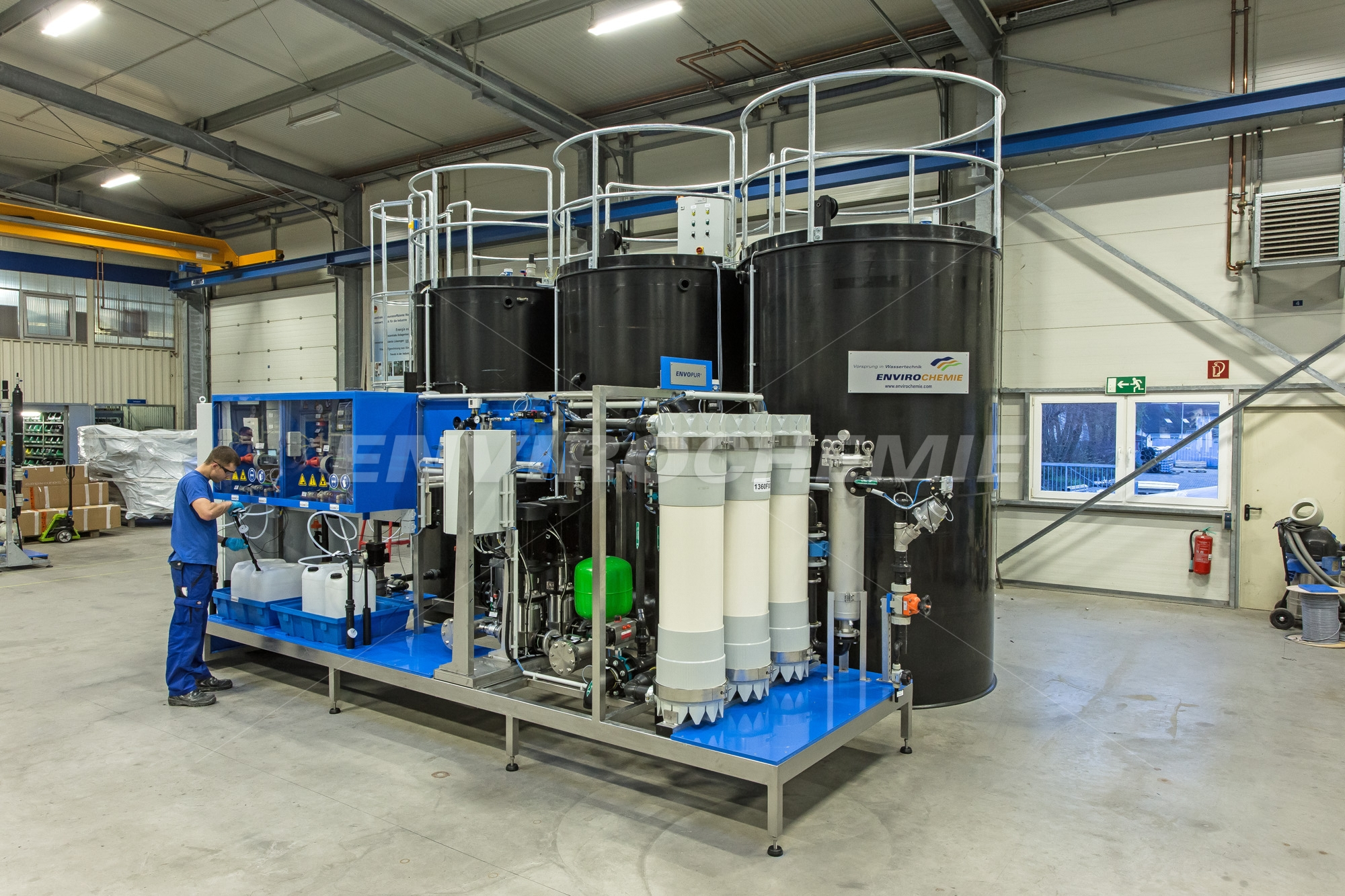 Plant for process water treatment in the